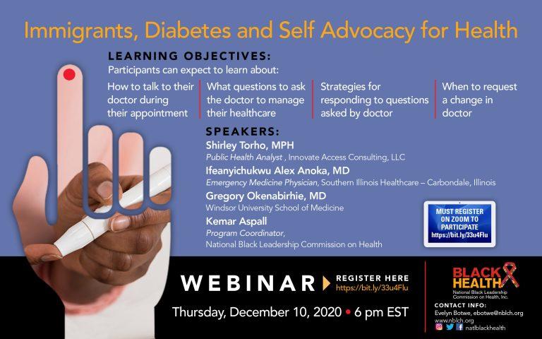black health Immigrants Diabetes webinar flyer