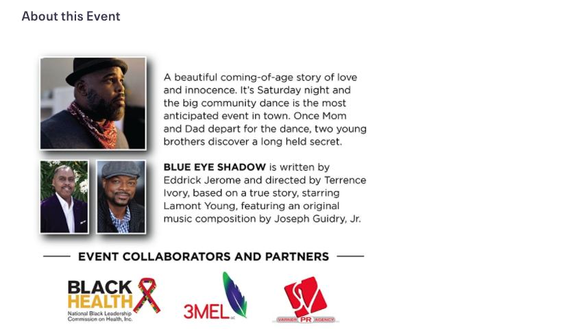 flyer for blue eye shadow movie event