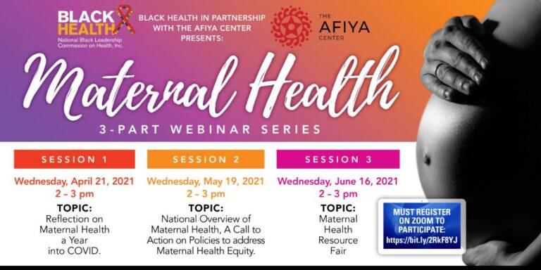 flyer for maternal health webinar series