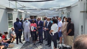 Elected officials at the vaccine hub in Far Rockaway